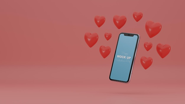 3d минималистичная сцена валентинки с макетом смартфона и романтическими сердечками