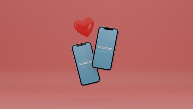 モックアップスマートフォンとロマンチックな心を持つ3d最小限のバレンタインシーン
