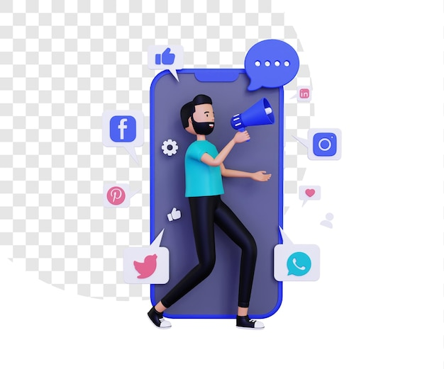 3d мобильный маркетинг с персонажем мужского пола, держащим громкоговоритель мегафона и значками социальных сетей