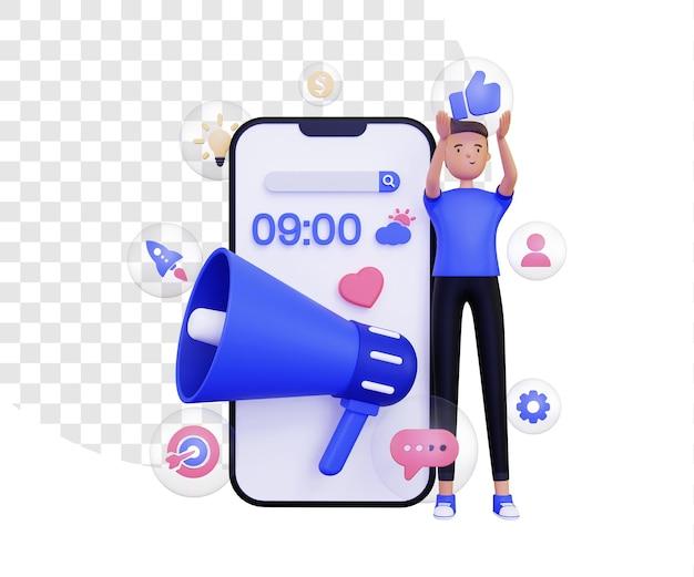 메가폰 확성기와 거품 안에 마케팅 아이콘이 있는 3d 모바일 마케팅
