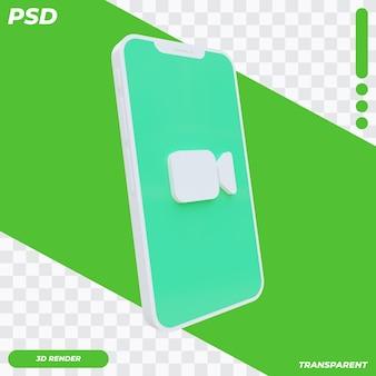 Facetime 아이콘으로 3d 휴대 전화 프리미엄 PSD 파일