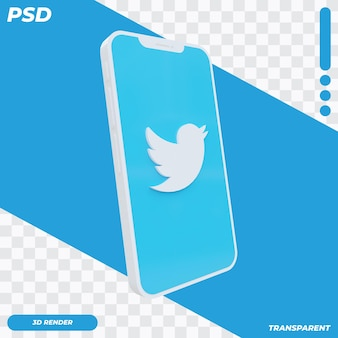 3d mobile phone with twitter icon