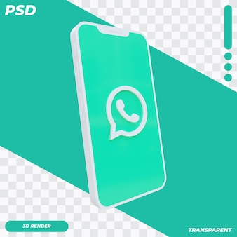 3d mobile phone with whatsapp icon