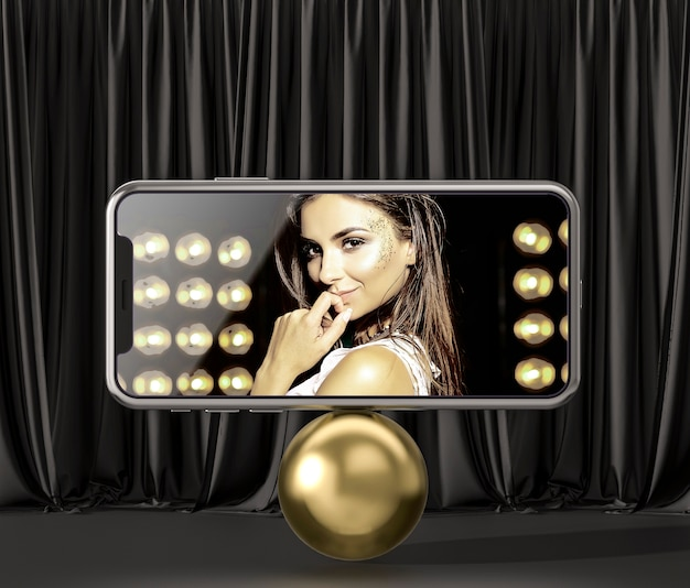 3d mock-up smartphone on a golden ball