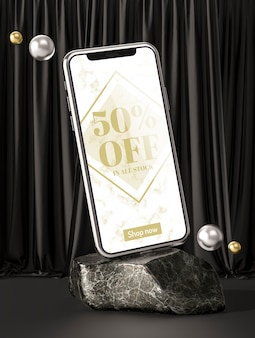 3d mock-up smartphone on marble rock