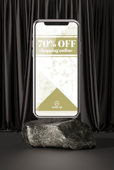 3d макет смартфон на мраморном камне