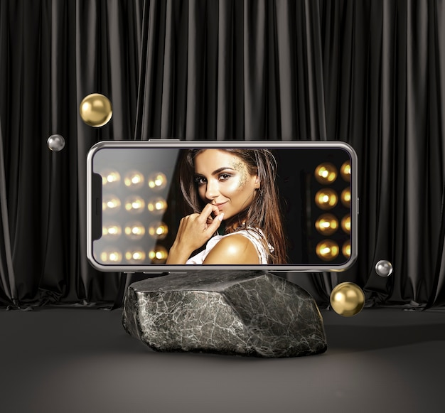 3d mock-up smartphone with fashion woman