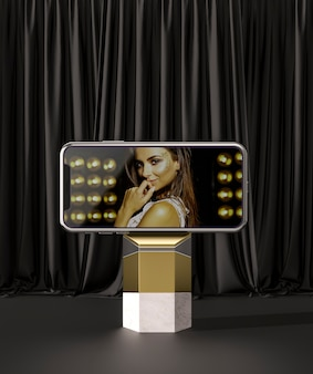 3d mock-up smartphone and woman ad