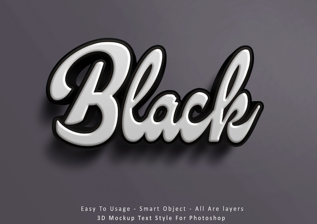 3d mockup black text style effect
