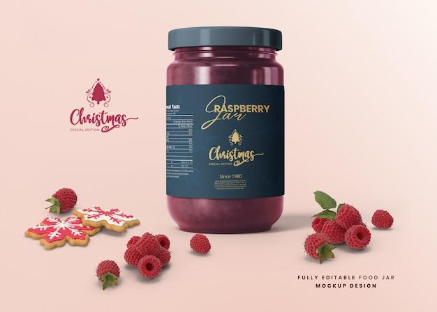 3d mockup for christmas special edition glass jar jam