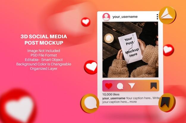 3d макет для instagram пост в социальных сетях