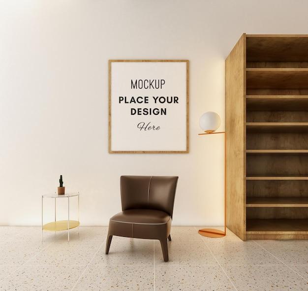 Рамка для 3d-макета и коричневый стул в комнате скандинавии