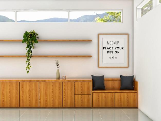 Рамка для 3d-макета на стене с минималистской деревянной скамьей