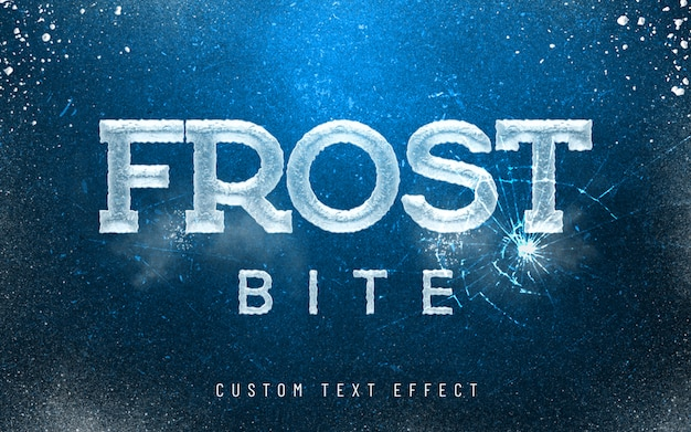 3d mockup frost bite ice font style effect
