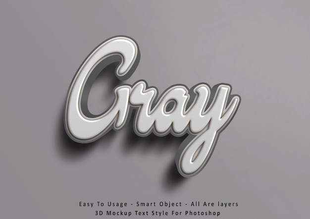 3d mockup gray text style effect