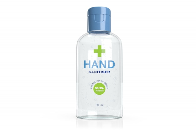 3d mockup of hand sanitiser gel -transparent plastic flackon