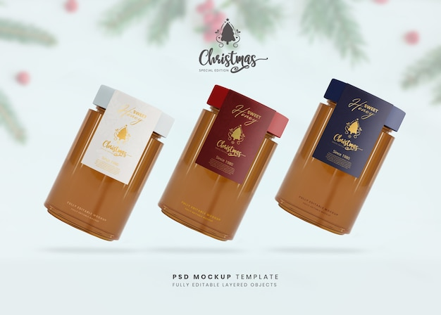 3d макет медовой стеклянной пищевой банки для презентации продукта