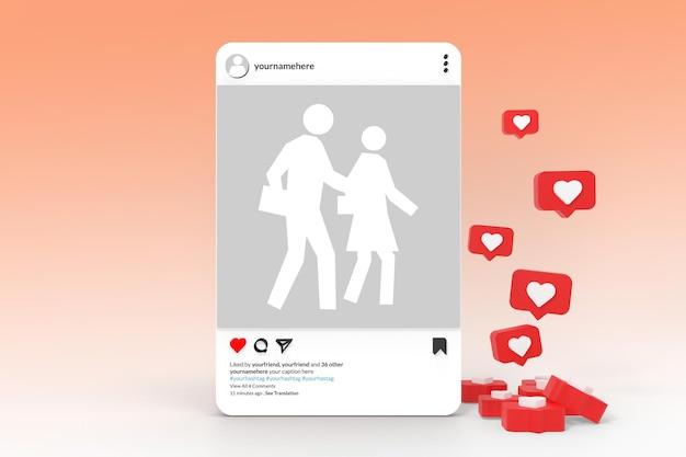 3dモックアップinstagramアプリソーシャルメディア投稿コンセプト