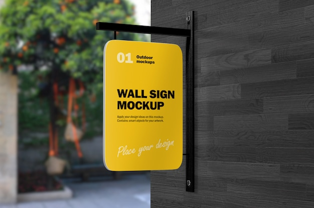 3d mockup of metal outdoor wall sign