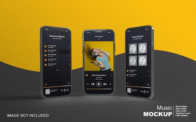 ソーシャルメディア投稿用のスマートフォンでの3dモックアップ音楽プレーヤーのデザイン