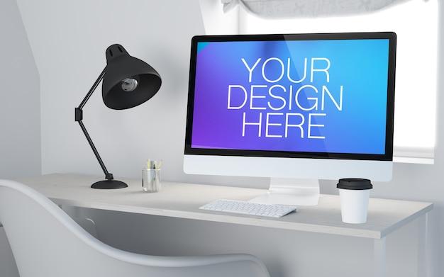 オフィスの作業台でのコンピューターの3dモックアップ