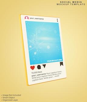 Instagramアプリのソーシャルメディア投稿の3dモックアップ