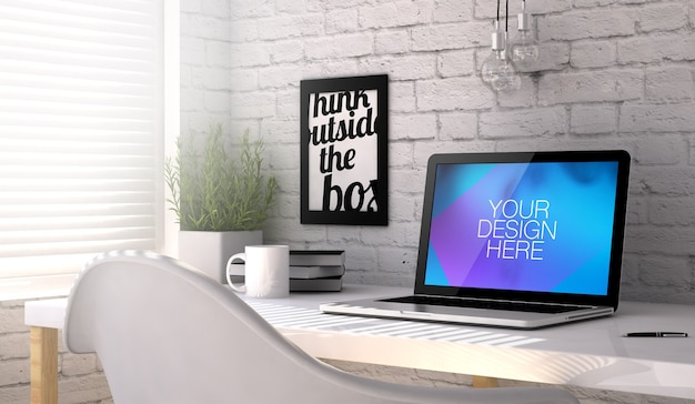 オフィスの作業台でのラップトップの3dモックアップ