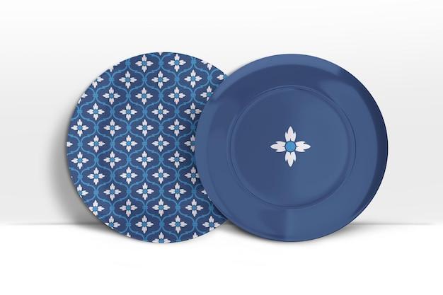 두 개의 서있는 도자기 접시의 3d 모형