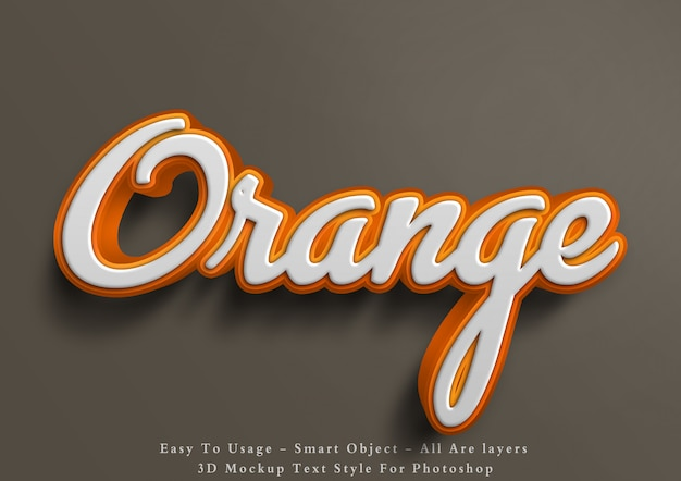 3d mockup orange text style effect