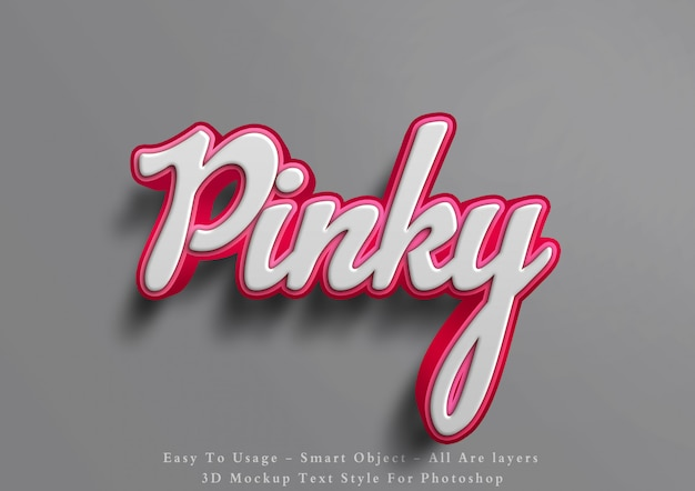 3d mockup pink text style effect
