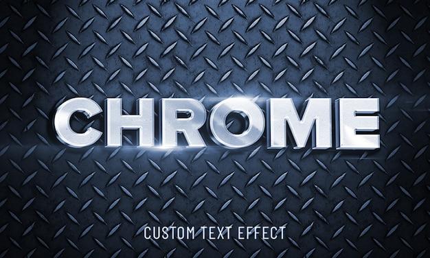 3dモックアップ光沢のあるクロムフォントスタイルの効果