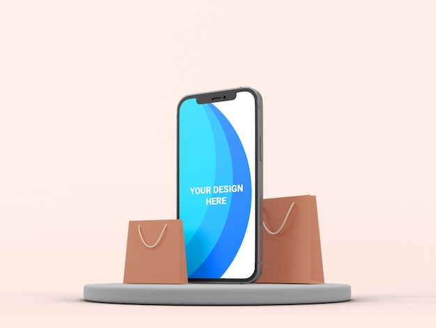 3d mockup smartphone with paper bag isolated