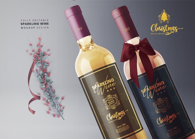 3d mockup sparkling wine or bubbly champagne for new year