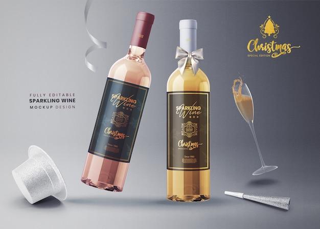 3d макет игристого вина или шампанского на новый год