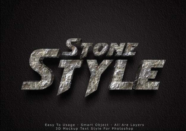 3d mockup stone text style effect