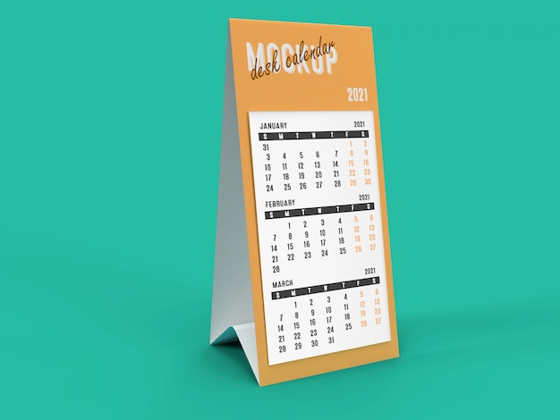 3d mockup of tall 2021 pyramid desk calendar