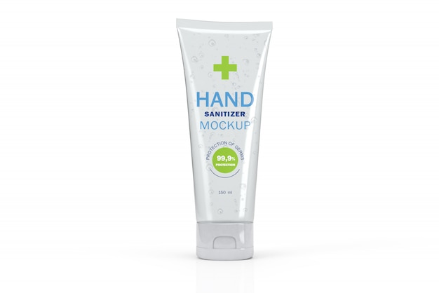 3d mockup of transparent tube for hand sanitizer