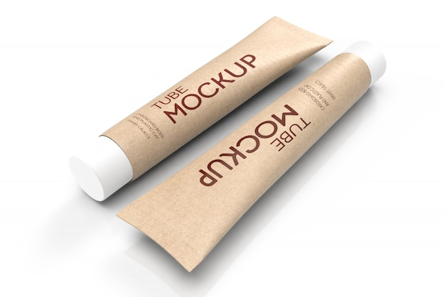 3d mockup of two toothpaste packages-lying cardboard tubes