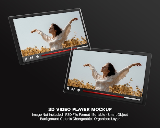 3d mockup of video player interface