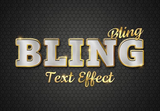 Алмазный и золотой текстовый эффект 3d mockup