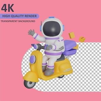 스쿠터에 패키지를 배달하는 어린이 우주 비행사 렌더링 3d 모델