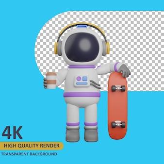 3d 모델 렌더링 어린이 우주 비행사 커피를 마시고 스케이트보드를 들고