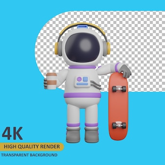 3d model rendering child astronaut drinking coffee and holding a skateboard