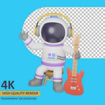 座っている間ギターを保持している子供の宇宙飛行士をレンダリングする3dモデル