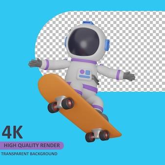 3d 모델 렌더링 어린이 우주 비행사는 스케이트 보드입니다.