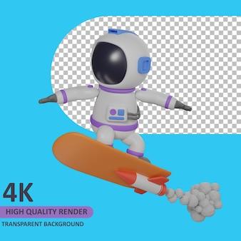 로켓 스케이트 보드를 연주하는 어린이 우주 비행사 3d 모델 렌더링