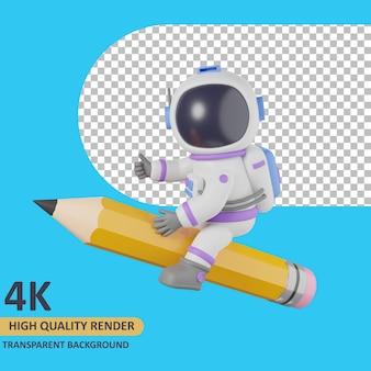 3d модель рендеринга ребенок-космонавт сидит на гигантском карандаше
