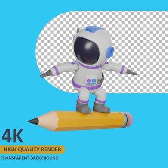 3d модель рендеринга ребенок-космонавт стоит на гигантском карандаше