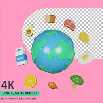3d model rendering the earth and various foods around it world food day