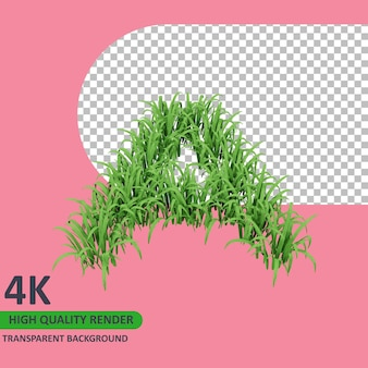 草のアルファベットの大文字をレンダリングする3dモデル